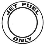 """AeroGraphics AG-FUEL-008 White/Black """"JET FUEL ONLY"""" Round 2"""" Placard"""