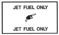 "AeroGraphics AG-FUEL-009 White/Black ""JET FUEL ONLY"" Rectangle 2-1/2"" x 4-1/4"" Placard"