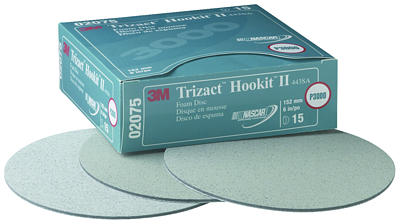 "3M™ 051131-02075 Trizact Hookit II Foam Disc 443SA - 6"" - 3000 Grade - Box of 15 Discs"