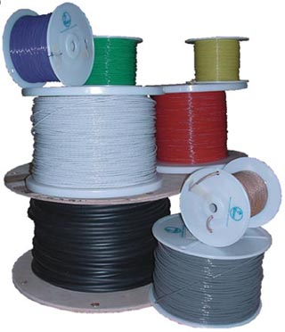 Military Specification M22759/16-18-6 Blue 18 AWG PTFE Tapes/Coated Fiberglass Braid Wire - Sold per Foot