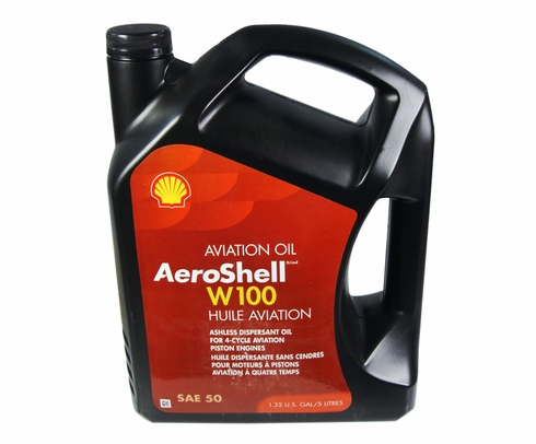 AeroShell Oil W100 SAE Grade 50 Ashless Dispersant Aircraft Oil - 5 Liter Jug
