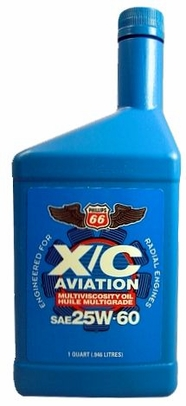 Phillips 66 X/C 25W-60 Multiviscosity Radial Engine Aircraft Oil - Quart Bottle