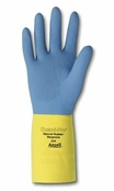 Ansell 87-224 Chemi-Pro® Blue/Yellow 27 mil Cotton Lined Diamond Embossed Grip Latex/Neoprene Gloves
