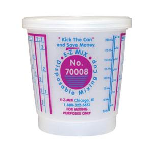E-Z MIX 70008 Plastic 1/2-Pint Disposable Graduated Display Paint Mixing Cup - 100 Cup/Box