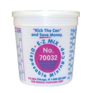 E-Z MIX 70032 Plastic 1-Quart Disposable Graduated Display Paint Mixing Cup - 100 Cup/Box