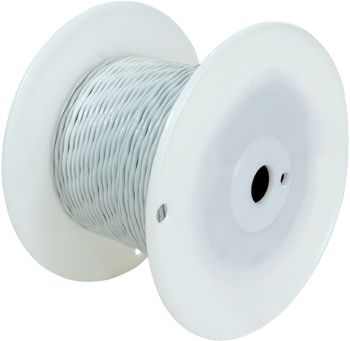 Military Specification M22759/11-8-9 White 8 AWG PTFE Tapes/Coated Fiberglass Braid Wire - Sold per Foot