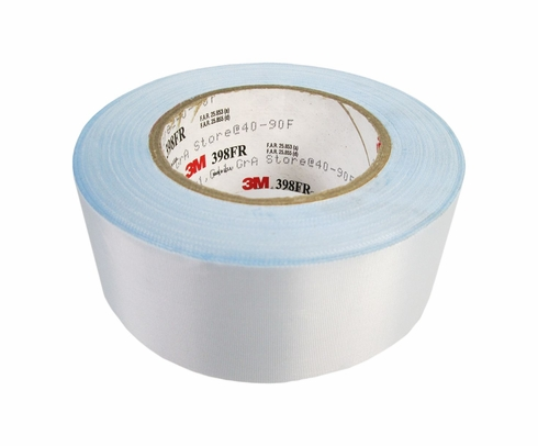 "3M� 021200-96672 White 398FR Glass 7 Mil Cloth Tape - 2"" x 36 Yard Roll"