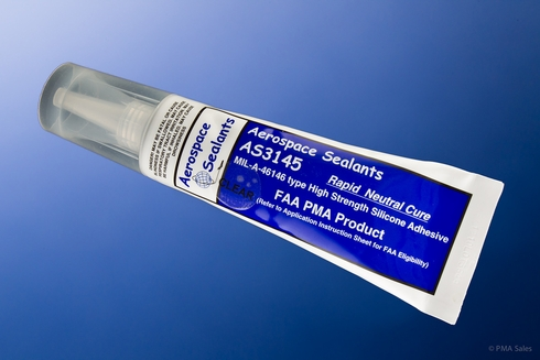 Aerospace Sealants AS3145 FAA-PMA Clear Silicone Adhesive Sealant - 3 oz Tube