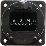 Airpath Instrument C-2300-L4-24-B Black 24-Volt White Light Panel Mounted Magnetic Compass