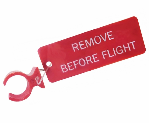 "Paco Plastics S4933959-521 FAA-PMA Red ""REMOVE BEFORE FLIGHT"" Tag Circuit Breaker Lockout Ring"
