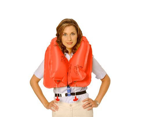 EAM Worldwide P0723E109PWC Orange KSE-35L8 Twin-Cell Helicopter Life Crew Vest with Whistle