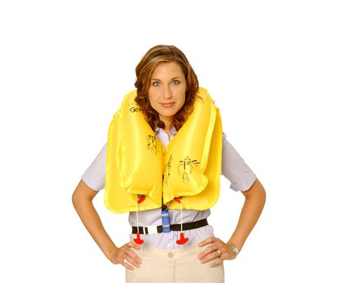 EAM Worldwide P0723E129PW Yellow KSE-35L8 Twin-Cell Helicopter Life Vest with Whistle