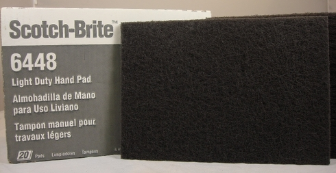 "3M� 048011-16555 Scotch-Brite� 6448 Gray Ultra Fine 6"" x 9"" Light Duty Hand Pad - 20 Pads/Box"