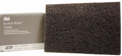"3M™ 048011-65056 Scotch-Brite™ 7446 Gray Medium 6"" x 9"" Blending Hand Pad - 20 Pads/Box"