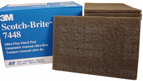 "3M™ 048011-04028 Scotch-Brite™ 7448 Gray Ultra-Fine 6"" x 9"" Light Gray Hand Pads - 20 Pads/Box"