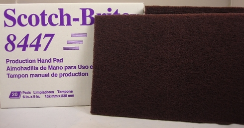 "3M™ 048011-24037 Scotch-Brite™ 8447 Maroon Very Fine 6"" x 9"" Production Hand Pad - 20 Pads/Box"