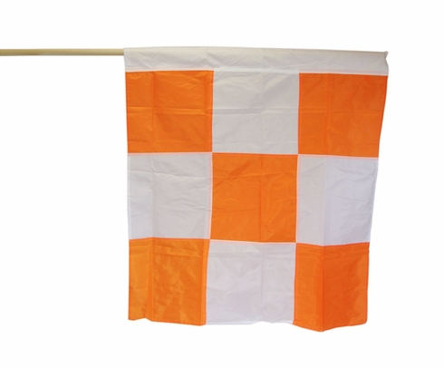 "Safety Flag APF60 Orange/White Checkered 36"" x 36"" Airport Flag Mounted on 60"" Dowel"