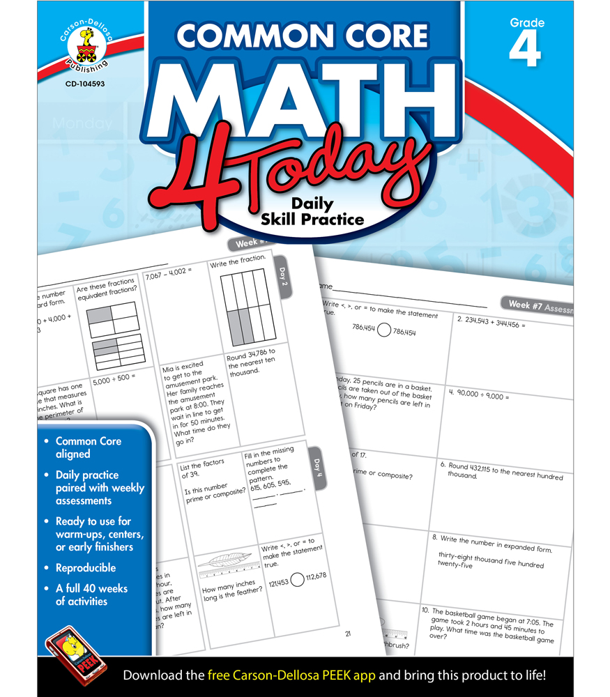 Common Core Math 4 Today Workbook Grade 4 by carson-dellosa ...
