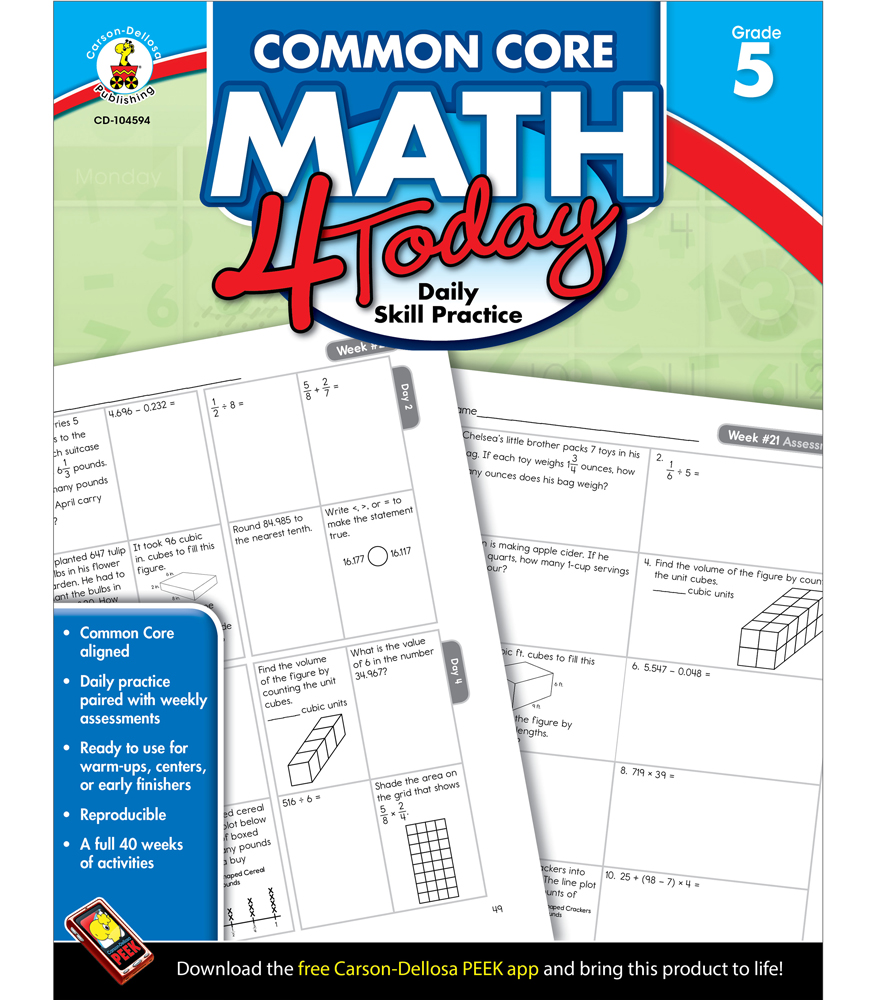 Workbooks scott foresman social studies workbook answers 5th grade : Common Core Math 4 Today Workbook Grade 5 by carson-dellosa ...