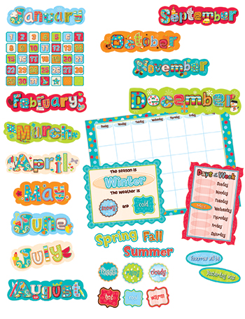 Dots On Turquoise Calendar Bulletin Board Set Ctp1642