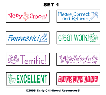 Self Inking Teacher Stamps Set 2 By Early Learning Resources