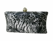 Collective Designs - Tiger Grey Evening Clutch with Crystal Top