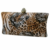 Collective Designs - Tiger Evening Clutch with Crystal Top