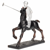 Daum Crystal Black Polo Player H 9 7/8 - 1000ex