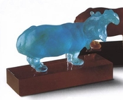 Daum Crystal Turquoise Hippopotamous