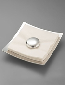Nambe Pebble Napkin Holder w/White Napkins