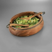 Nambe Anvil Salad Bowl w/Servers