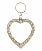 SOLD OUT Whiting & Davis Oversize Silver Heart Key Ring