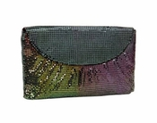 Whiting & Davis The Essentials Flap Clutch Peacock