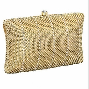 Whiting & Davis Crystal Classic Minaudiere Gold
