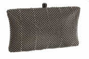 Whiting & Davis Crystal Classic Minaudiere Pewter