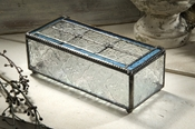 J Devlin Art Glass Box Vintage & Pale Blue