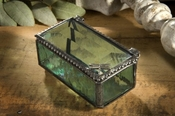 J Devlin Art Glass Box Dragonfly Sage