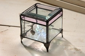 J Devlin Art Glass Box Bevels & Pink W w/heart charm