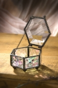 J Devlin Art Glass Box Sm Hexagon-Clear Iridized