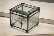 J Devlin Art Glass Box Vintage, Clear Iridized/Cross Ch