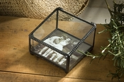 J Devlin Art Glass Box Cl Slant Box w/3x3 Glass Insert