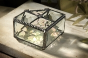 J Devlin Art Glass Box Bevel & Clear Irid 5 Sided