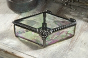 J Devlin Art Glass Box Diamond Clear Irid