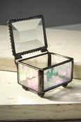 J Devlin Art Glass Box Clear Iridized