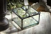 J Devlin Art Glass Box Clear Irid Double Lift