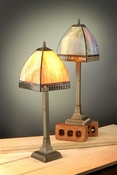 J Devlin Art Glass Lamp Gr/Bl/Pur/Amber & Cross