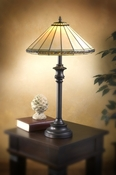J Devlin Art Glass Lamp Ivory, Amb Stone, & Seagrass