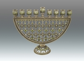 Tizo Jeweled & Enameled Menorah - Green - CLOSEOUT