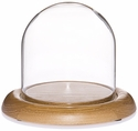 "Glass Dome with Oak Base - 4"" x 4"""