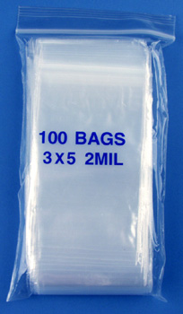 3x5 2mil clear zipper bags, pack of 100